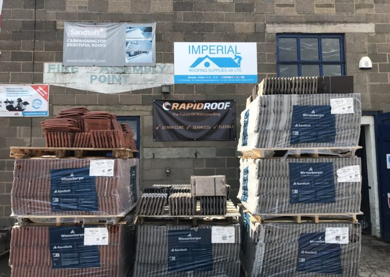 pallets of roofing tiles